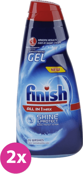 Calgonit Finish All in 1 Max Shine & Protect Gel do myčky 2 x 650 ml