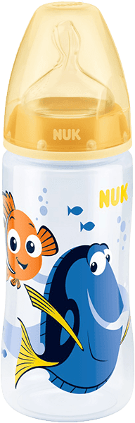 NUK First Choice+ Láhev Disney Dory, PP, 300 ml, silikon (6-18 m), M – žlutá
