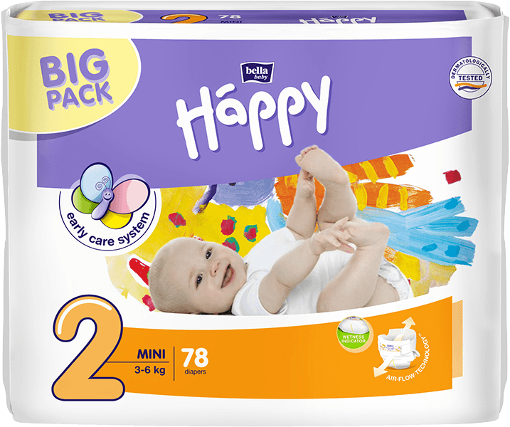 BELLA HAPPY Mini (3-6kg) Big Pack 78ks – jednorázové plenky