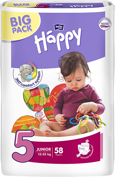 BELLA HAPPY Junior (12-25kg) Big Pack 58 ks – jednorázové plenky