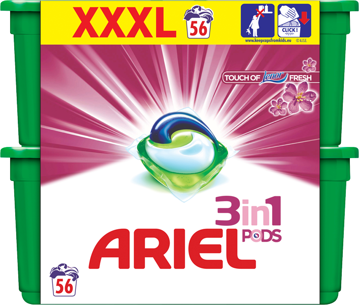 ARIEL Touch of Lenor Fresh 3v1 Gelové Kapsle - 56 ks