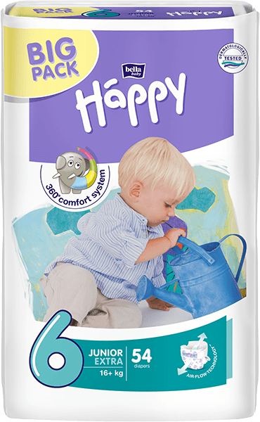 BELLA HAPPY Junior 16+ kg, extra Big Pack, 54 ks - jednorázové pleny