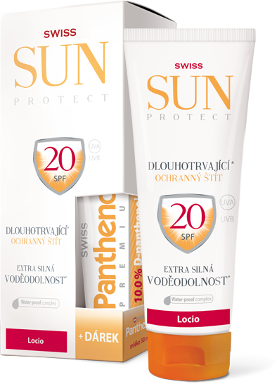 SunProtect Swiss F20 locio 250ml + Panthenol 50ml + 5 % cashback při platbě s Twisto