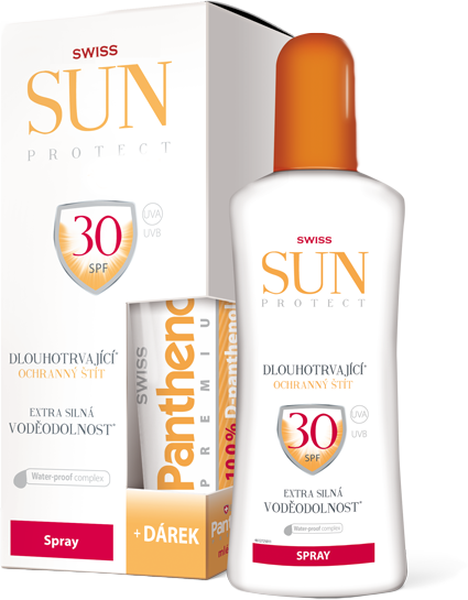 SunProtect Swiss F30 spray 250ml + Panthenol 50ml + 5 % cashback při platbě s Twisto