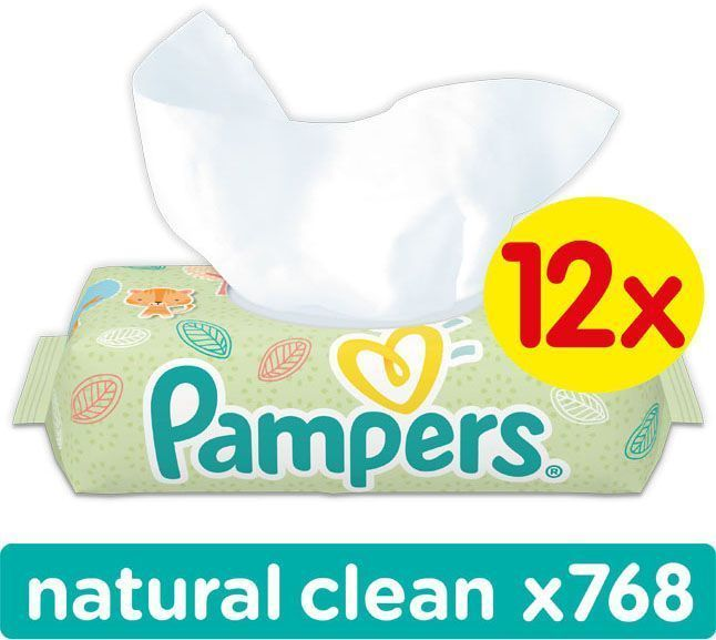 Pampers Ubrousky Natural Clean 12 x 64 ks