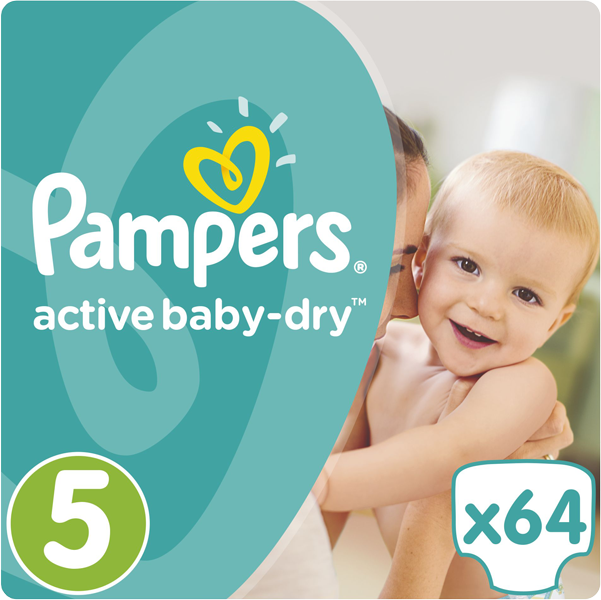 PAMPERS Active Baby 5 JUNIOR 64ks (11-18kg) GIANT PACK - jednorázové pleny
