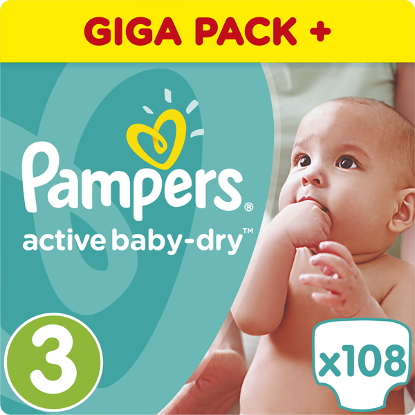 PAMPERS Active Baby 3 MIDI 108ks (4-9 kg) GIANT BOX PLUS - jednorázové pleny