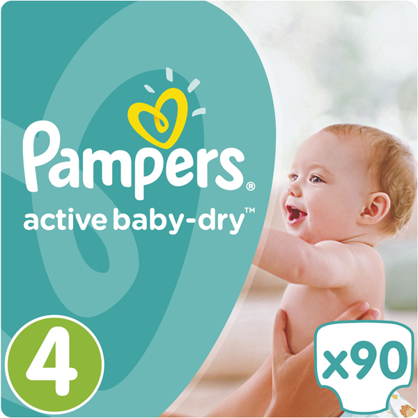 PAMPERS Active Baby 4 MAXI 90ks (8-14 kg) GIANT BOX PLUS - jednorázové pleny