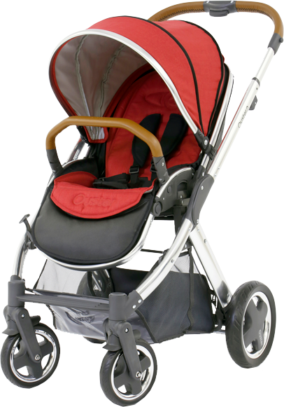 BABYSTYLE OYSTER 2 Kočárek, mirror tan rám + Colour pack, tango red (2017)