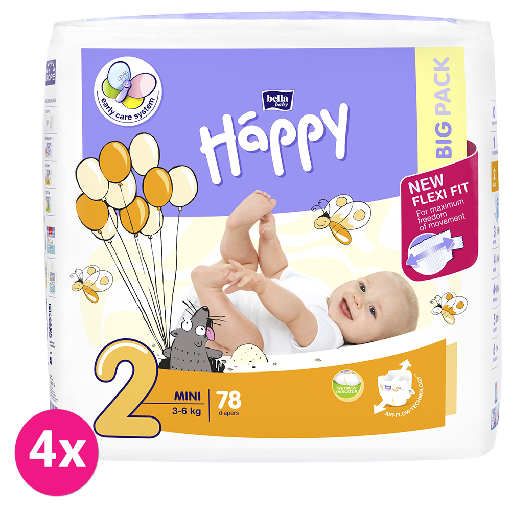 4x BELLA HAPPY Mini 2 (3-6 kg) Big Pack 78 ks - jednorázové plenky