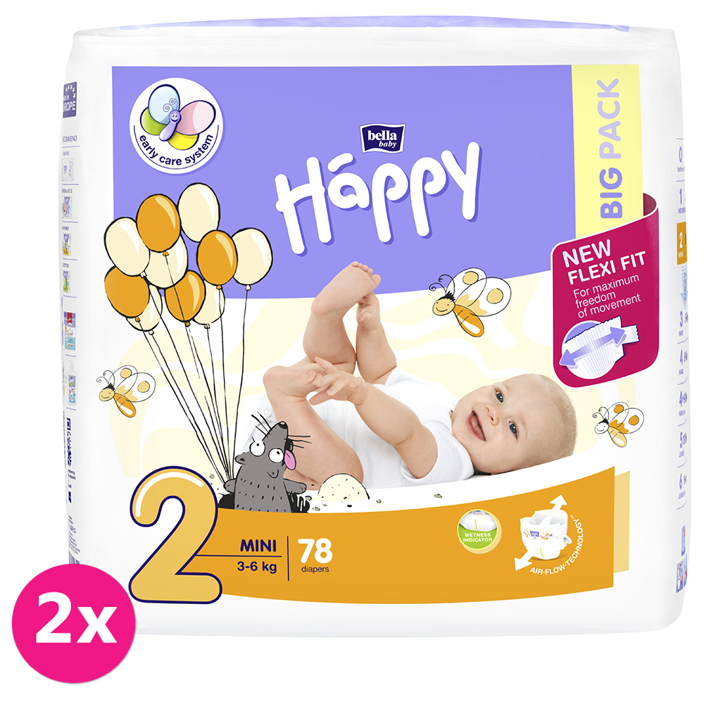 2x BELLA HAPPY Mini 2 (3-6 kg) Big Pack 78 ks – jednorázové plenky