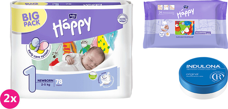 2x BELLA HAPPY Newborn 1 pleny (2-5 kg) 78 ks + Indulona Tělový krém 75 ml + Happy Wipes 24 ks
