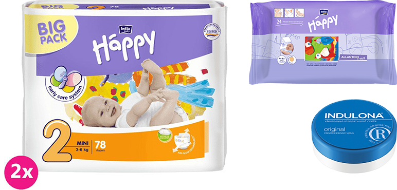 2x BELLA HAPPY Mini 2 pleny (3-6 kg) 78 ks + Indulona Tělový krém 75 ml + Happy Wipes 24 ks