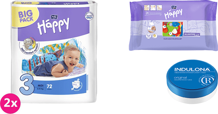 2x BELLA HAPPY Midi 3 pleny (5-9 kg) 72 ks + Indulona Tělový krém 75 ml + Happy Wipes 24 ks