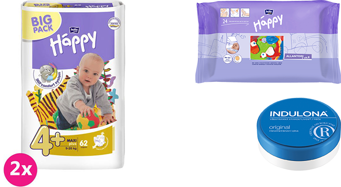 2x BELLA HAPPY Maxi Plus 4+ pleny (9-20 kg) 62 ks + Indulona Tělový krém 75 ml + Happy Wipes 24 ks