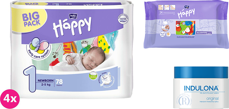4x BELLA HAPPY Newborn 1 pleny (2-5 kg) 78 ks + Indulona Tělový krém 250 ml + Happy Wipes 24 ks