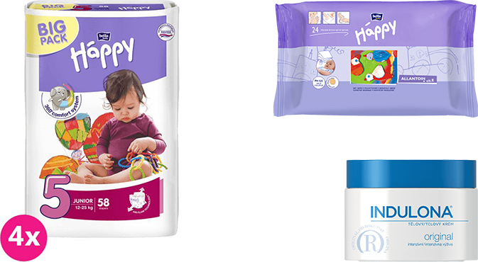4x BELLA HAPPY Junior 5 pleny (12-25 kg) 58 ks + Indulona Tělový krém 250 ml + Happy Wipes 24 ks